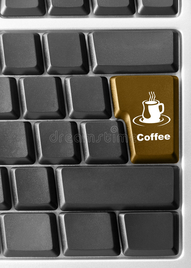Computer keyboard with red. Close-up of Computer keyboard with red Coffee key royalty free stock photography
