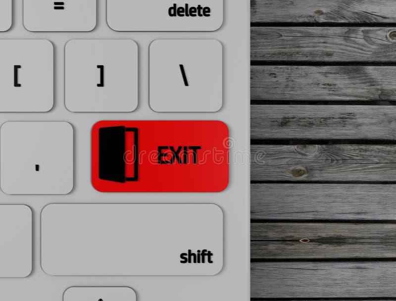 Computer keyboard red exit enter key, 3d render. Illustration stock illustration