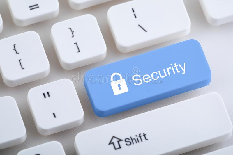 Computer keyboard with security button royalty free stock image