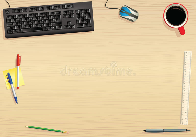 Computer keyboard and tabletop. A top-down perspective illustration of a computer keyboard and various office items on a tabletop. Plenty of room on the desk for stock illustration