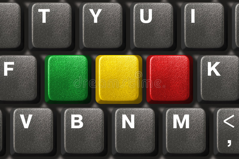 Computer keyboard with three blank keys. Technology background royalty free stock photo