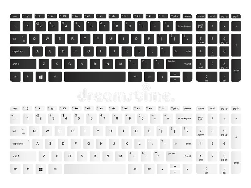 Computer keyboard vector isolated illustration. Black and white version. Computer keyboard vector isolated illustration. Black and white, top view royalty free illustration