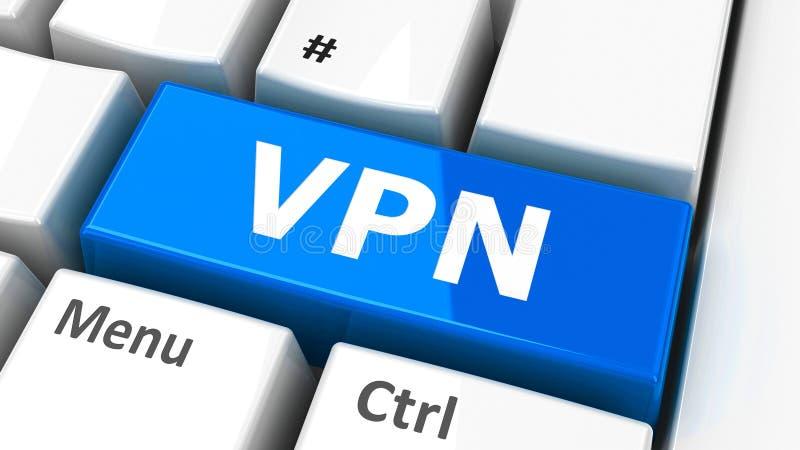 Computer keyboard VPN. VPN Virtual Private Network key on the computer keyboard, three-dimensional rendering, 3D illustration vector illustration