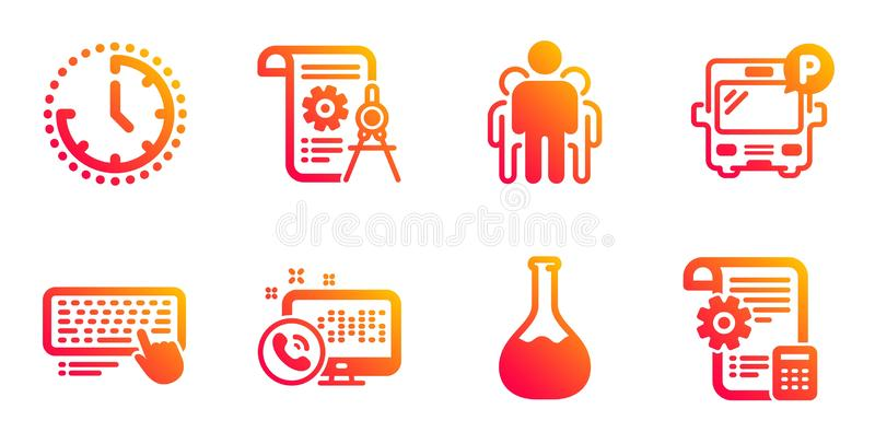 Computer keyboard, Web call and Chemistry lab icons set. Time, Bus parking and Group signs. Vector. Computer keyboard, Web call and Chemistry lab line icons set stock illustration