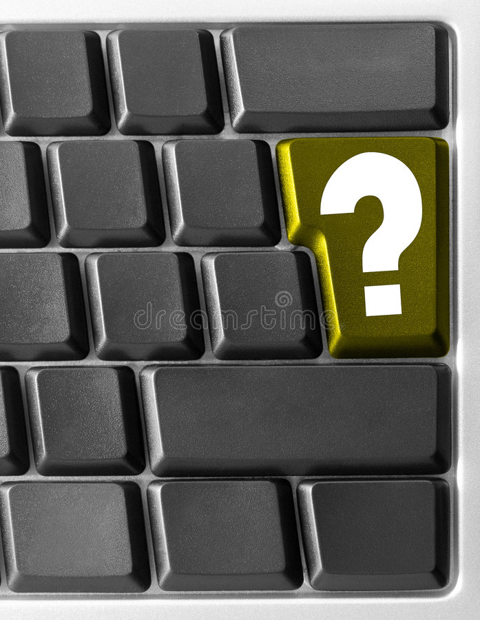 Computer keyboard, with yellow. Close-up of Computer keyboard, with yellow Question key stock photos
