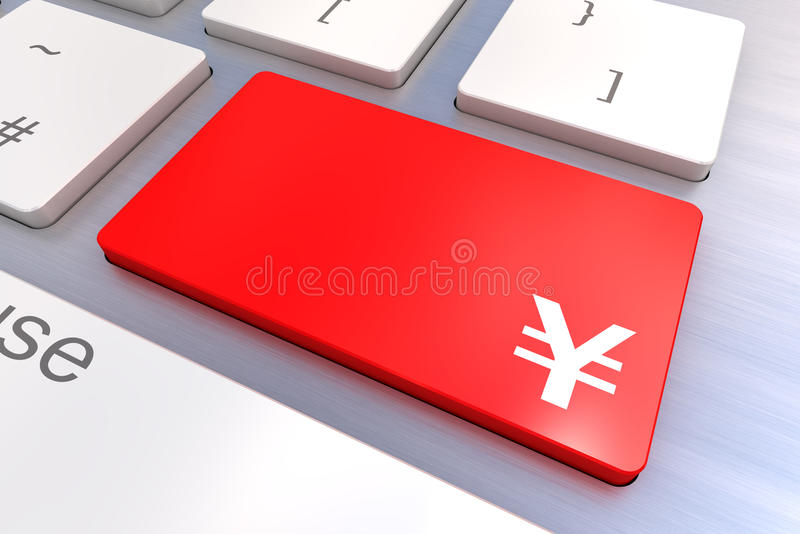 Computer keyboard with a Yen Button Concept. Computer keyboard rendered illustration with a Yen Button Concept stock illustration