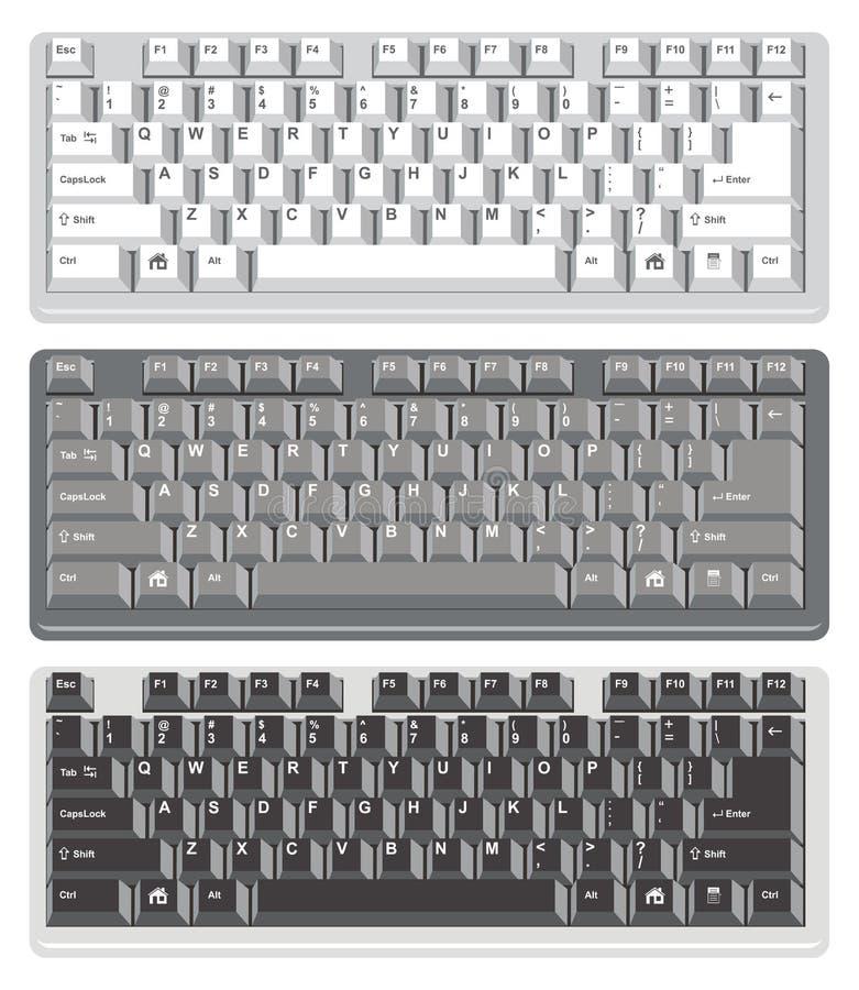 Computer keyboards, vector. Flat design of computer keyboards, vector stock illustration