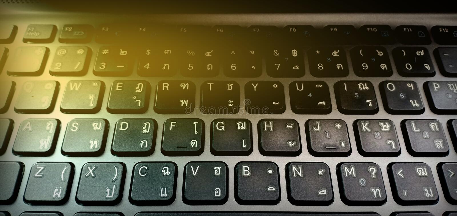 Computer keybord with technology. Background stock image
