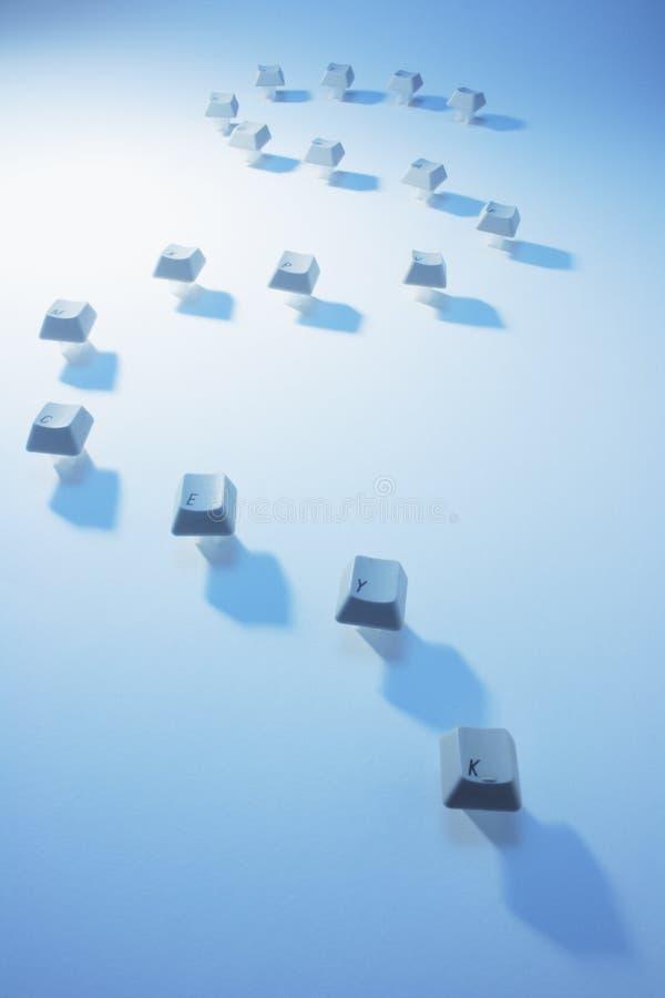Computer Keys. On Blue Background stock photos