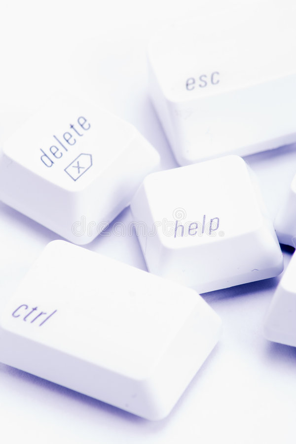 Computer keys. Various important computer command keys on white stock image