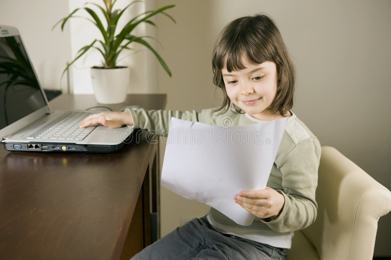 Computer kid royalty free stock photos