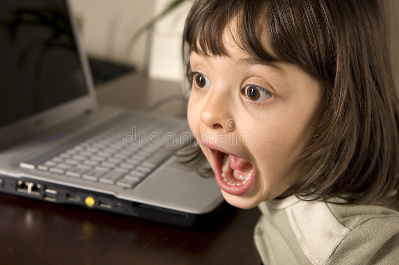 Computer kid stock photo