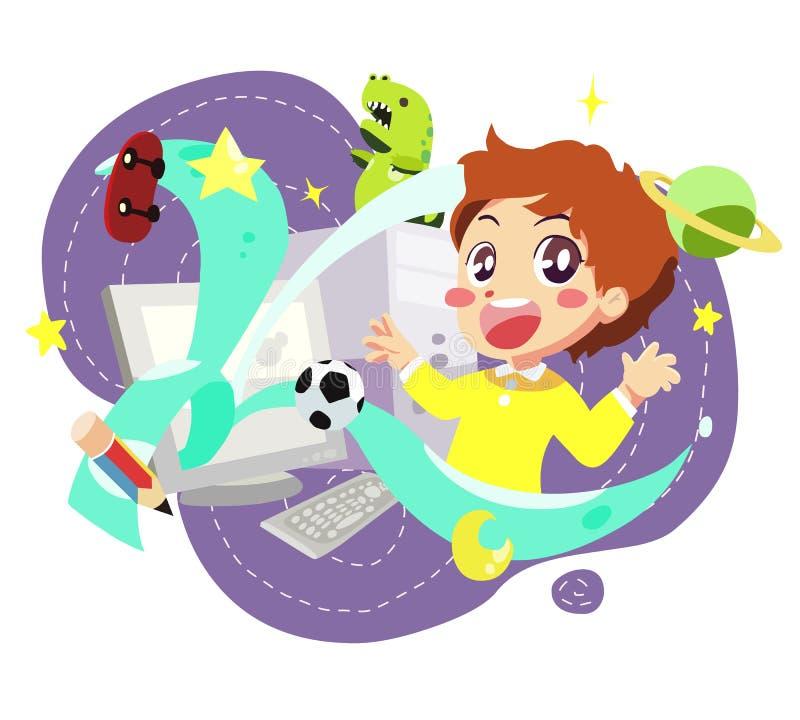 Computer kids - vector. Illustration of happy kids with computer stock illustration