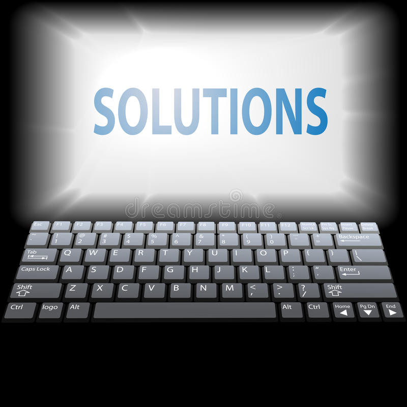 Computer LÖSUNGEN im Laptop überwachen copyspace lizenzfreie abbildung