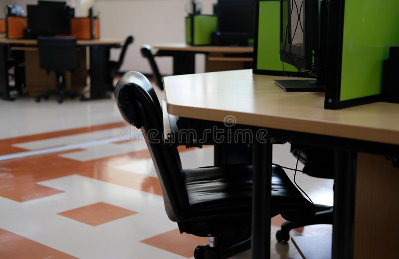 Computer lab room in university college school. education training concept. Computer lab room in university college school. education training workplace concept royalty free stock photo