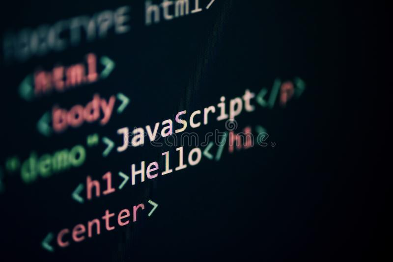 Computer language programming Javascript code internet text editor components display screen royalty free stock photo