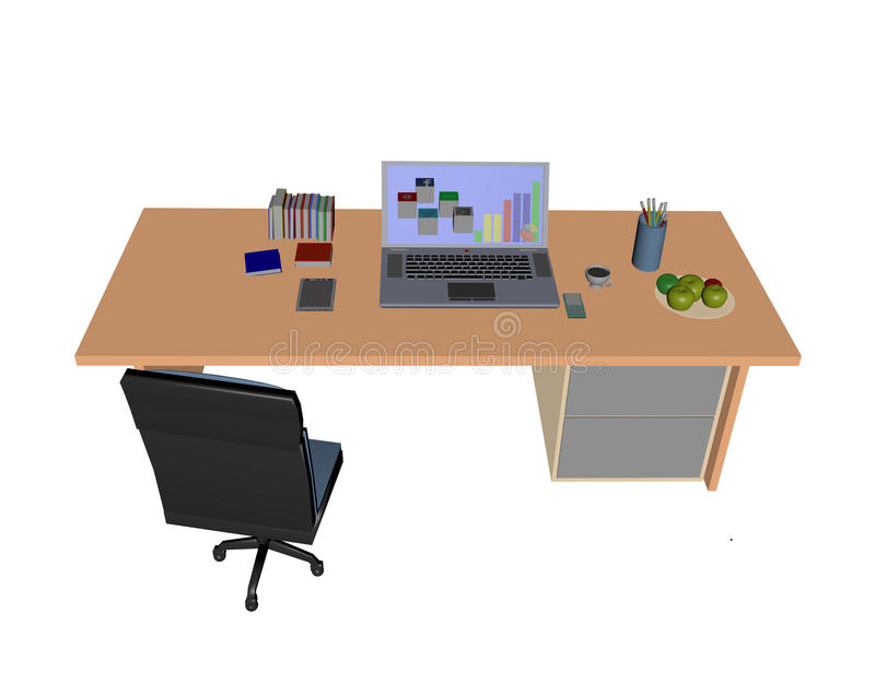 Computer laptop as home workstation. Computer laptop on line communication 3d on desk with chair royalty free stock images