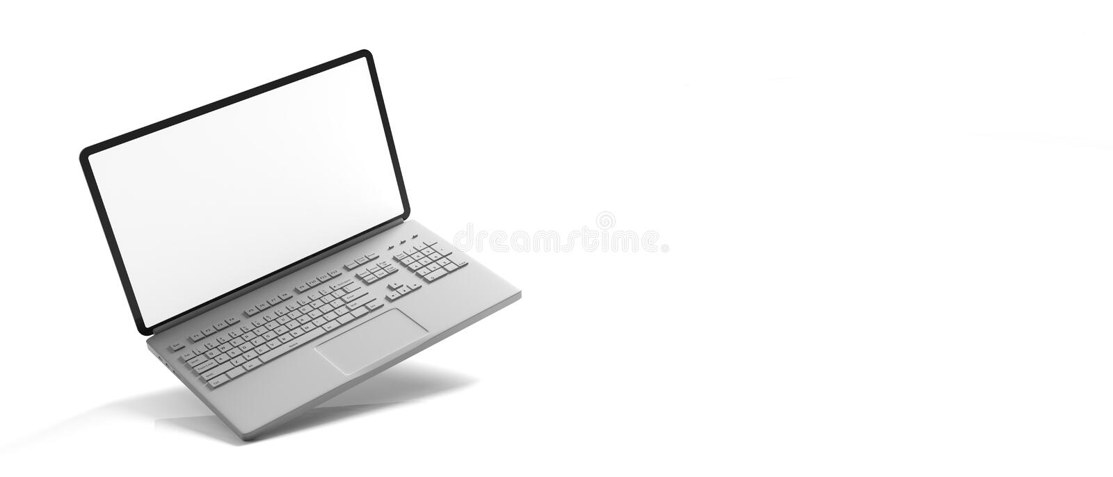 Computer laptop with blank screen isolated on white background, banner, copy space. 3d illustration royalty free illustration