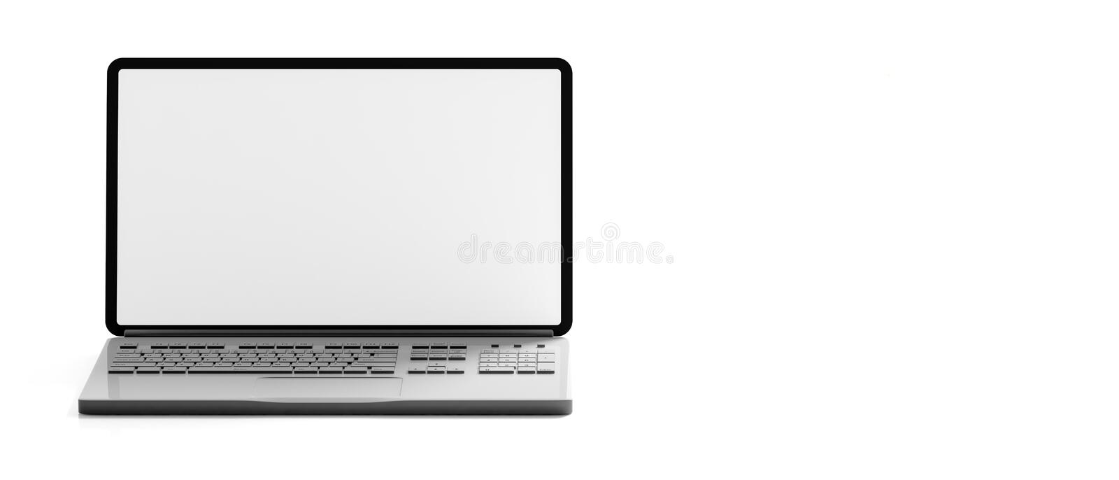 Computer laptop with blank screen isolated on white background, banner, copy space, front view. 3d illustration stock illustration