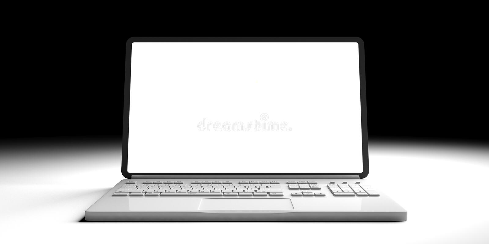 Computer laptop with blank screen isolated on white and black background, front view. 3d illustration vector illustration