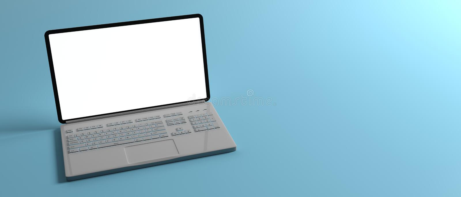 Computer laptop with blank white screen isolated on blue background, banner, copy space. 3d illustration stock illustration