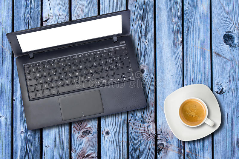 Computer Laptop Cup Coffee Top View Isolated stock photography