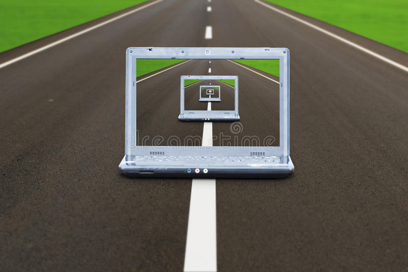 Computer Laptop On Highway Stock Photo