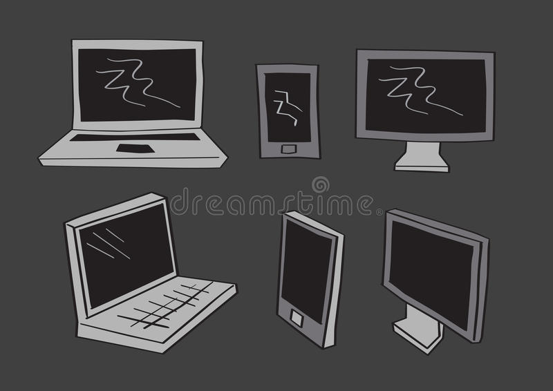 Computer Laptop and Mobil Phone Icons in Vector Cartoon Style. Simple grayscale vector illustration of computer screen, mobile phones and laptop in frontal and vector illustration