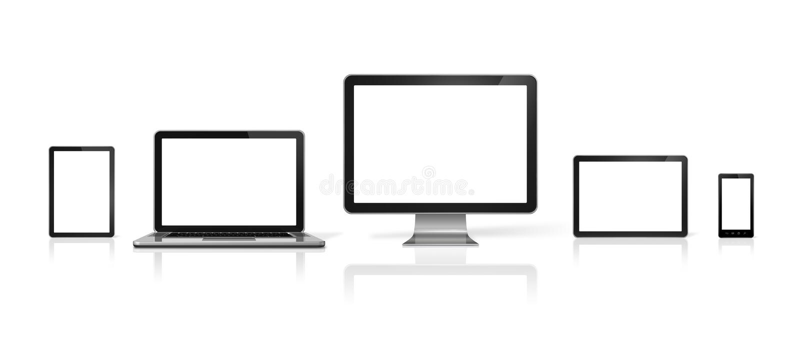 Computer, laptop, mobile phone and digital tablet pc. 3D computer, laptop, mobile phone and digital tablet pc - isolated on white with clipping path vector illustration