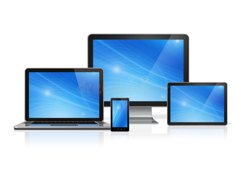Computer, laptop, mobile phone and digital tablet pc. 3D computer, laptop, mobile phone and digital tablet pc - isolated on white with clipping path stock illustration
