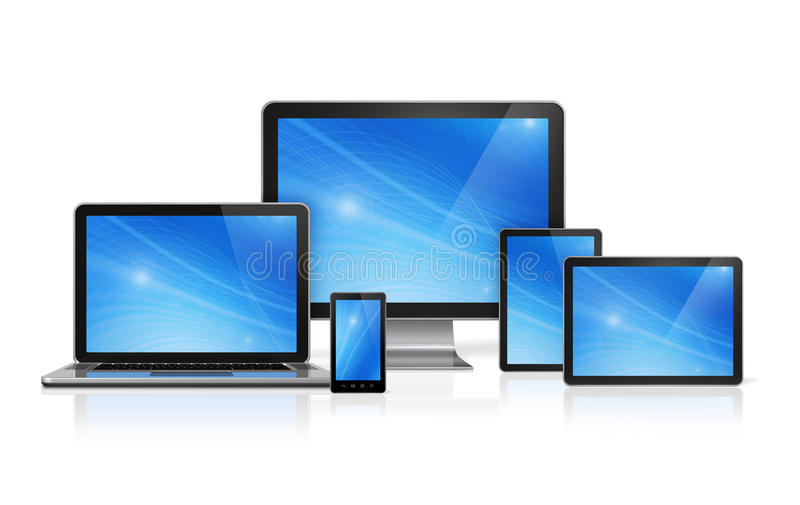Computer, laptop, mobile phone and digital tablet pc. 3D computer, laptop, mobile phone and digital tablet pc - on white with clipping path vector illustration
