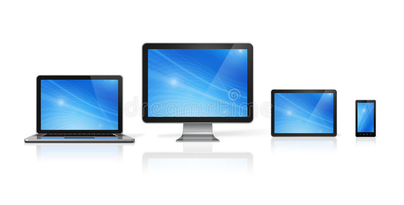 Computer, laptop, mobile phone and digital tablet pc. 3D computer, laptop, mobile phone and digital tablet pc - on white with clipping path stock illustration