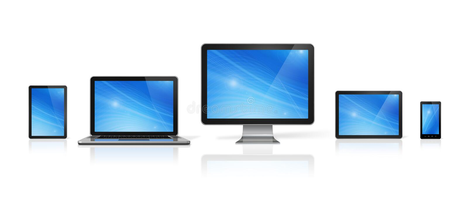Computer, laptop, mobile phone and digital tablet pc. 3D computer, laptop, mobile phone and digital tablet pc - on white with clipping path royalty free illustration