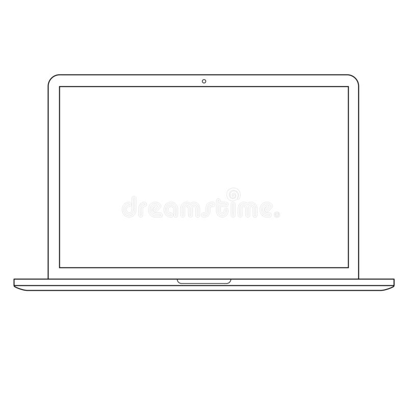 Computer Laptop outline vector eps10. opened laptop Computer outline  vector eps10. notebook computer outline. Icon stock illustration