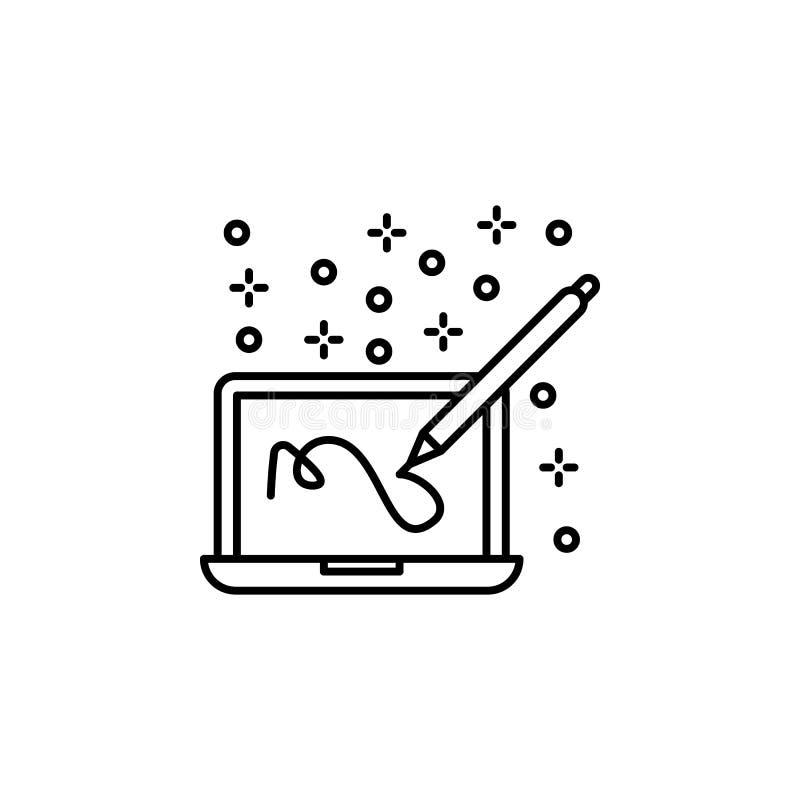 Computer laptop pen icon Element of computer icon illustration de vecteur