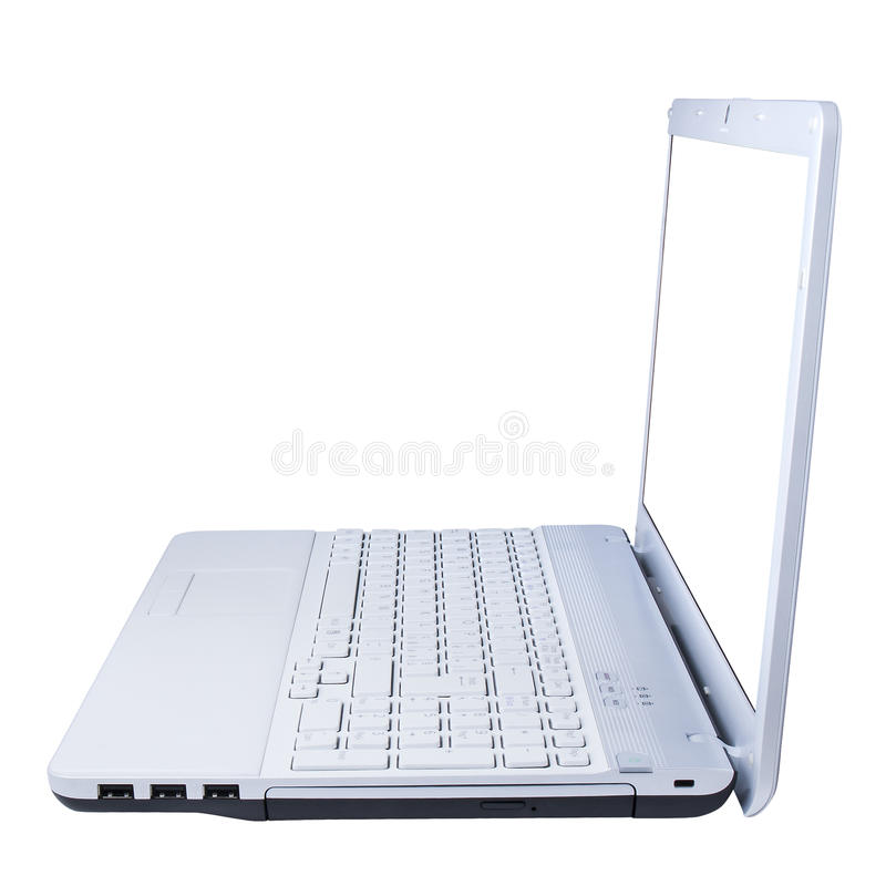 Computer Laptop Side View Isolated royalty free stock image