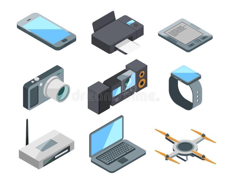 Computer, laptop, smartphone en andere elektronische gadgets Gekleurde vectorbeelden in isometrische stijl stock illustratie