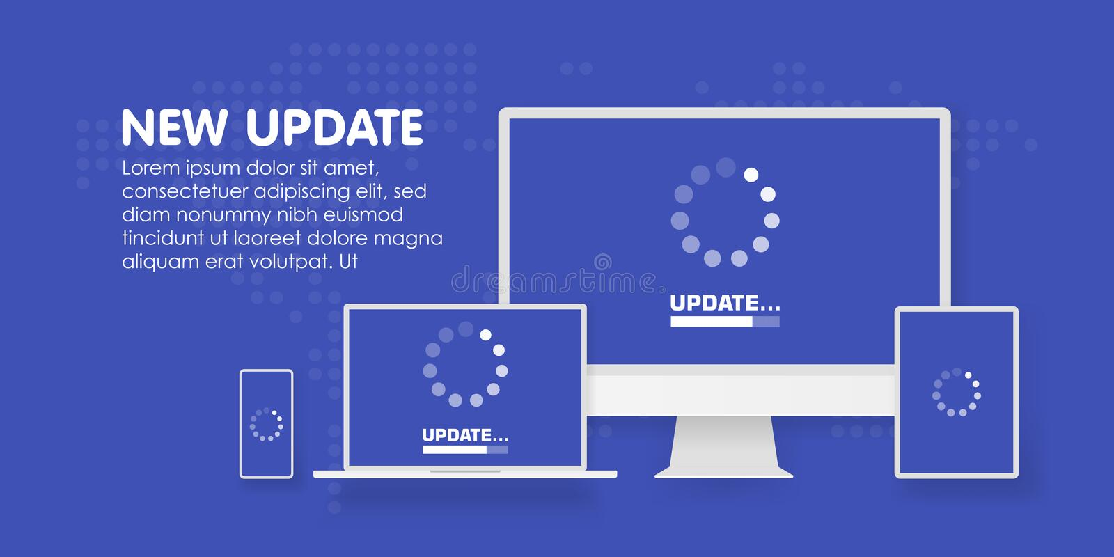 Computer, laptop and smartphone with update process screen. Install new software, operating system support. Vector royalty free illustration