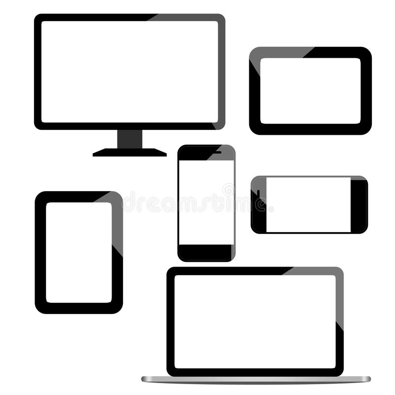 Computer laptop Tablet PC and Mobile. With white empty screen stock illustration