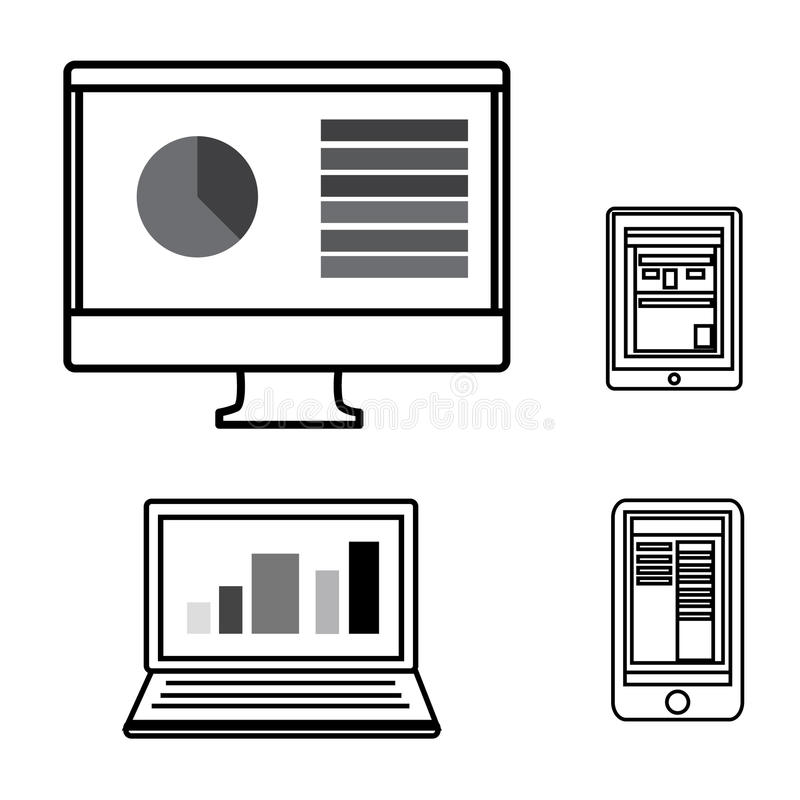 Computer,Laptop,Tablet and Smart phone outlines icons stock illustration