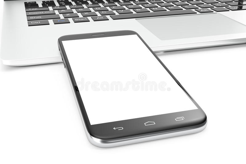 Computer, Laptop or Tablet, Smartphone, Display Isolated on White Background, Workspace Mock up for your Design royalty free illustration