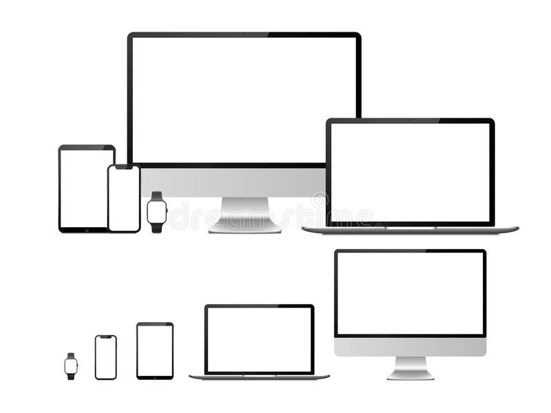 Computer, laptop, tablet, smartphone and smart watch device with blank white screen. Devices mockup for presentation stock illustration