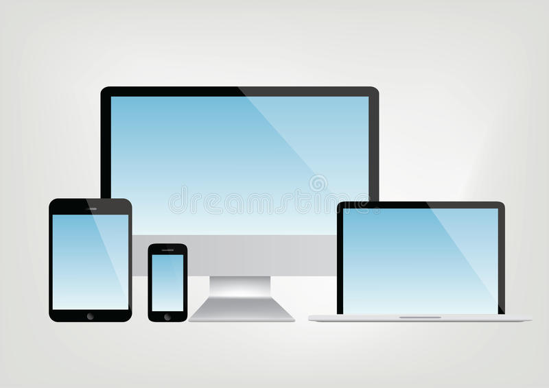Computer, laptop, tablet, smartphone vector - blue display. Modern computer, laptop, tablet and smartphone vector vector illustration