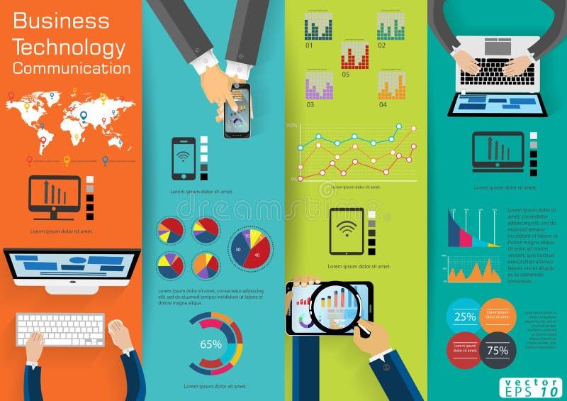 Computer-Laptop-Technologie-Geschäftskommunikation über Weltmoderner Idee und Konzept Vector Illustration Infographic-Schablone w vektor abbildung
