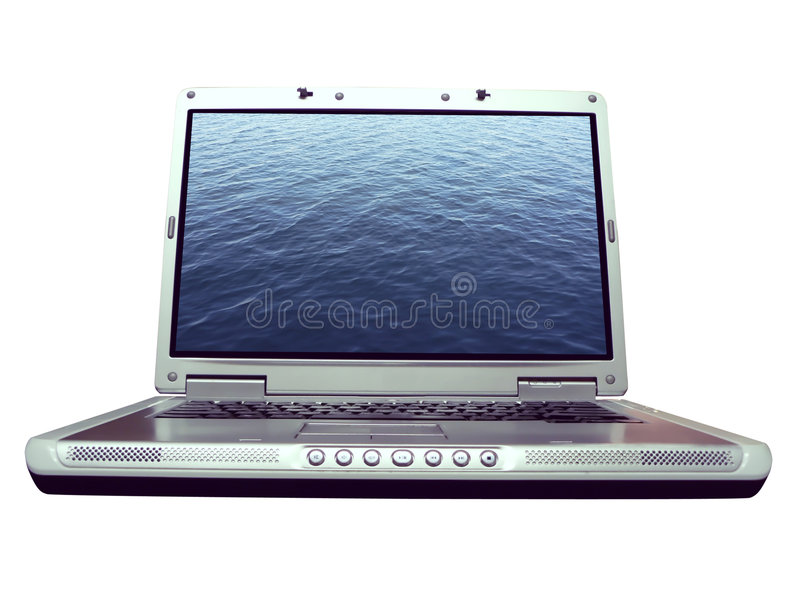 Computer - laptop waterrimpeling royalty-vrije stock afbeeldingen