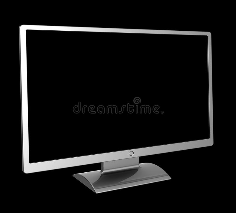 Computer LCD monitor blank screen simple plasma TV set. Computer LCD monitor blank flat screen simple plasma TV set Liquid Crystal Display. 3d rendering isolated stock illustration