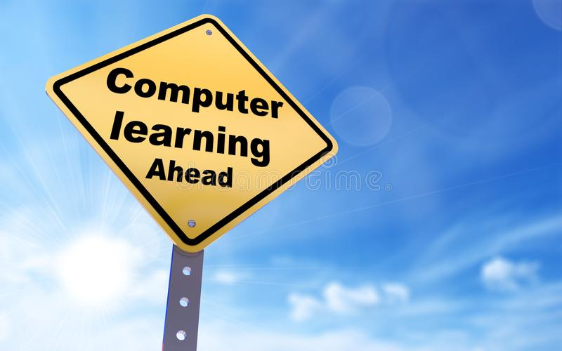 Computer learning ahead sign vector illustration