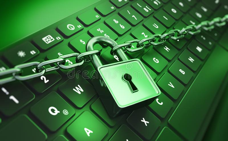 Computer lock and chain - concept security royalty free illustration