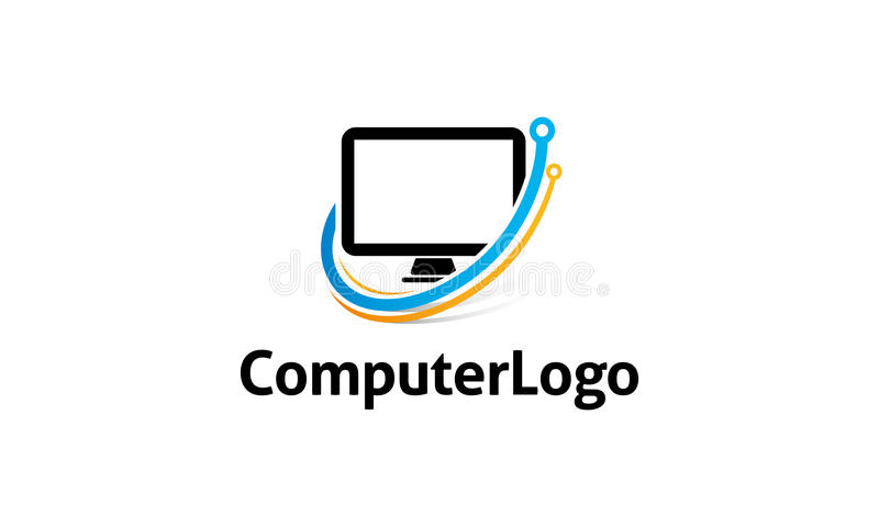 Computer Logo. Minimalist and modern computer logo template. Simple work and adjusted to suit your needs royalty free illustration