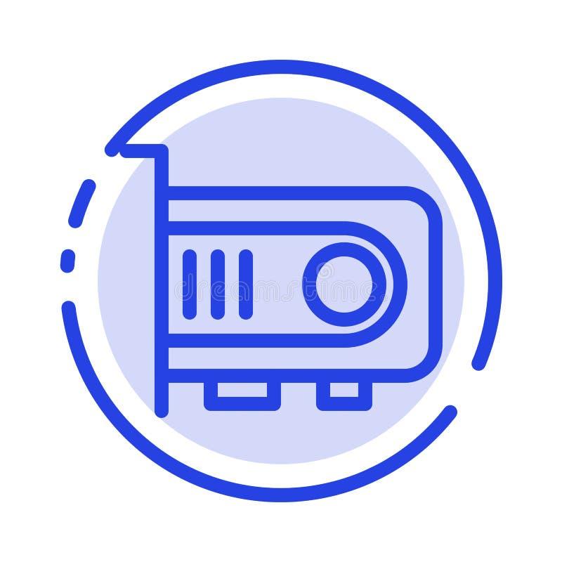 Computer, Macht, Technologie, de Lijnpictogram van de Computer Blauw Gestippelde Lijn royalty-vrije illustratie
